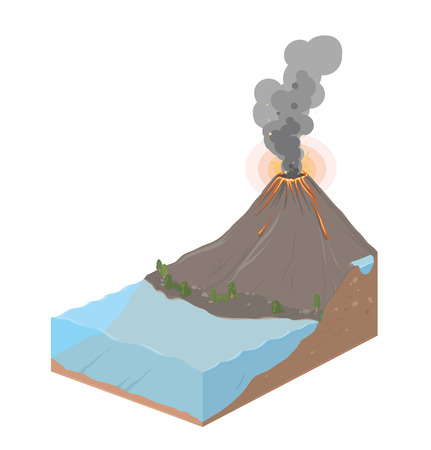 Earth slice with ocean and volcanic eruption. Vector Landscape illustration isolated on white background.