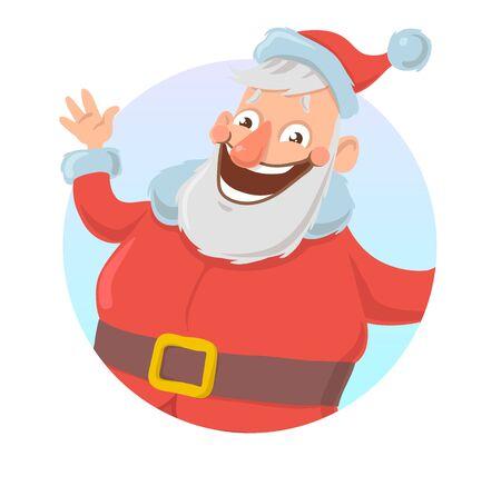 Santa waving hello Isolated Cartoon character vector illustration. Illustration