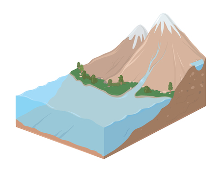 Rectangular earth slice with mountain landscape and ocean, vector illustration.