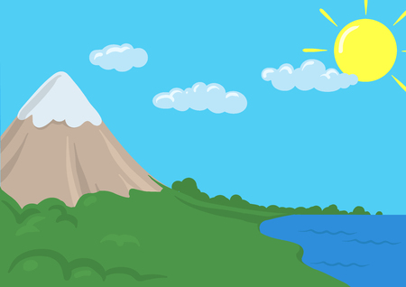 Cartoon vector landscape with mountain, clouds and sea. Illustration