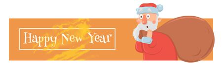 Christmas card with funny Santa Claus carrying big bag of presents. Santa Claus looks bewildered and agitated. Christmas banner or header for website.