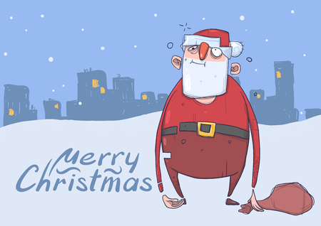 Christmas card of funny drunk Santa Claus with a bag on evening snowy city background. Happy Santa Claus got wasted. Horizontal vector illustration.