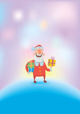 Funny smiling Santa Claus carries gifts in colorful boxes.