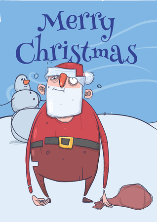 Christmas card design of funny drunk Santa Claus with a bag standing next to a snowman in frosty windy weather. Illustration