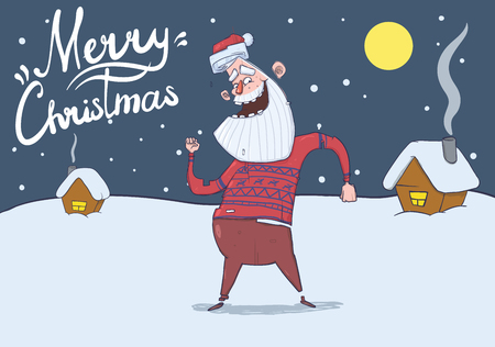 Christmas card with smiling Santa Claus in deer sweater dancing in the snowy night in front of festive houses under the Moon. Horizontal vector illustration. Cartoon character. Lettering. Copy space.