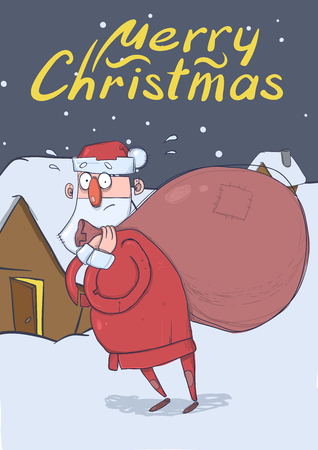 Christmas card of funny Santa Claus with big bag of gifts standing near a house on snowy night. Santa looks lost and confused. Vertical vector illustration. Cartoon character. Lettering. Copy space.