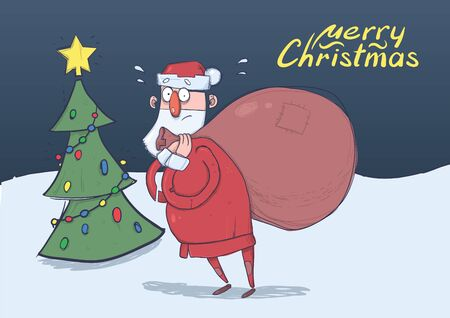 Christmas card of funny confused Santa Claus with big bag in front of decorated Christmas tree in the night. Santa got lost. Horizontal vector illustration. Cartoon character. Lettering. Copy space.