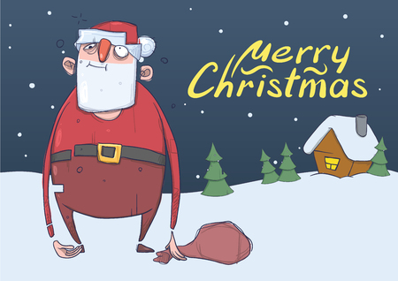christmas card of funny drunk santa claus with a bag in the snowy night in front - Drunk Christmas