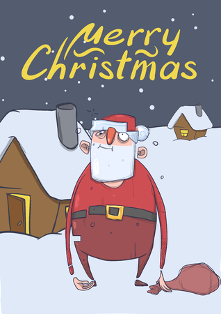 Christmas card of funny drunk Santa Claus with a bag standing next to the house in the snowy night. Santa got wasted. Vertical vector illustration. Cartoon character. Lettering. Copy space.