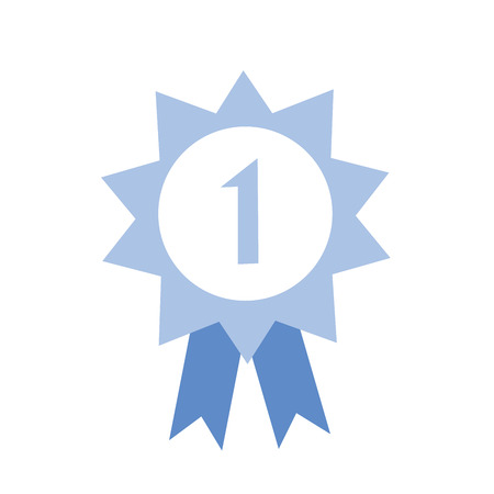 Blue ribbon award icon.