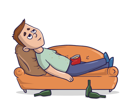 Bored young man lying on a couch.