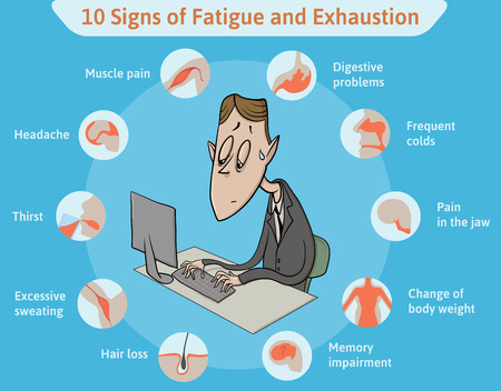 Template with ten signs of fatigue and tired clerk. Illustration