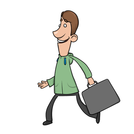 A funny smiling man with a briefcase in hoodie, walks and waves his hands. Cartoon character vector illustration. An isolated image on white background.