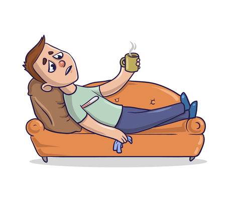 A young man with cold lies on a sandy-colored couch and takes medicine. Cartoon character vector illustration. An isolated image on white background.