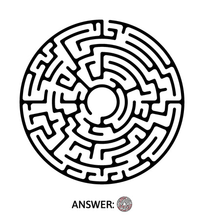 Black round maze. Puzzle game for kids, vector labyrinth illustration.