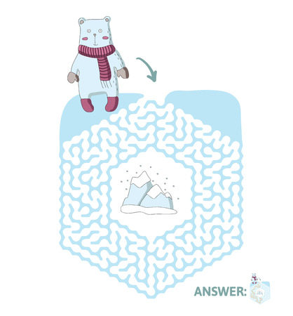 Children's maze with polar bear and the North pole. Cute puzzle game for kids, vector labyrinth illustration.