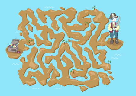 Children's maze. Pirate treasure map. Cute puzzle game for kids. Vector labyrinth illustration. Stock Illustratie