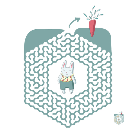 Childrens maze with rabbit and carrot. Cute puzzle game for kids, vector labyrinth illustration.