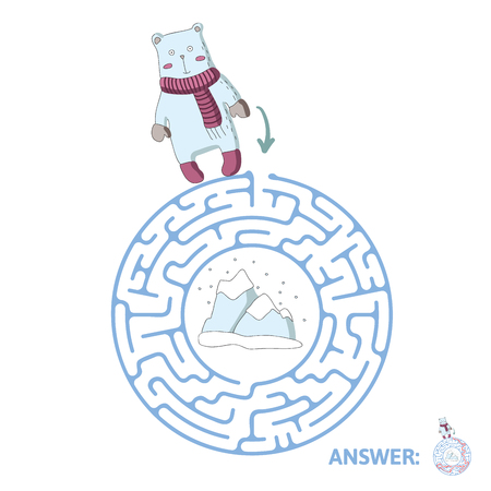 Childrens round maze with polar bear and the North pole. Cute puzzle game for kids, vector labyrinth illustration. Illustration