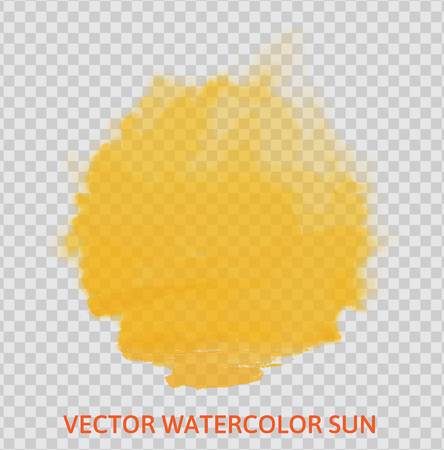 Vector yellow watercolor sun, isolated on transparent background.