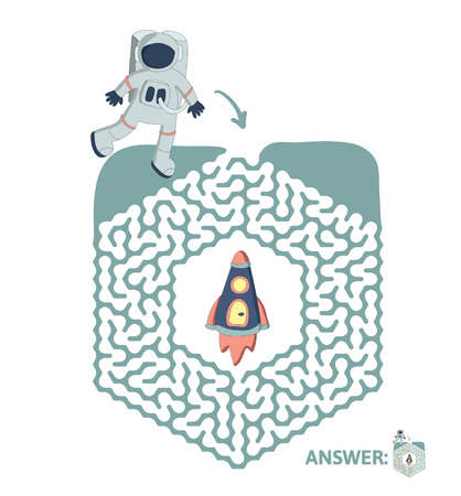 Childrens maze with astronaut and rocket. Cute puzzle game for kids, vector labyrinth illustration.