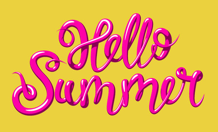 Calligraphy with the phrase Hello Summer. Hand drawn lettering in 3d style. Vector illustration, isolated on yellow background.