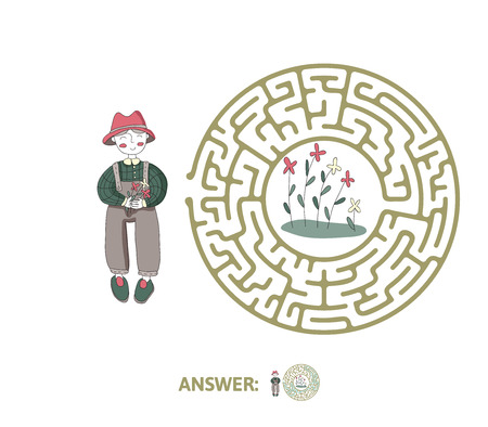 Childrens maze with gardener and flowers. Cute puzzle game for kids, vector labyrinth illustration.