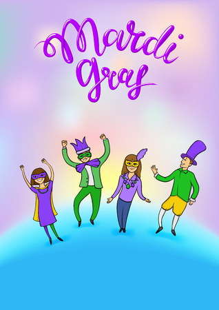 Mardi Gras, Fat Tuesday, vector lettering illustration in 3d style with dancing people. Design template of poster or banner for party or carnival. Illustration