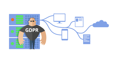 GDPR concept illustration. General data protection regulation. The protection of personal data. Server and security guard. Vector, isolated on white background. Stock Illustratie