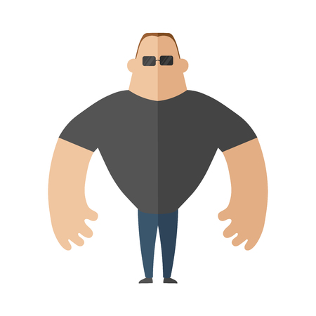Large muscular man in a t-shirt, security guard. Vector illustration in flat style, isolated on white background. Illustration