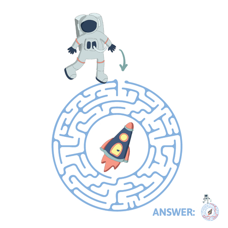 Childrens round maze with astronaut and rocket. Cute puzzle game for kids, vector labyrinth illustration.