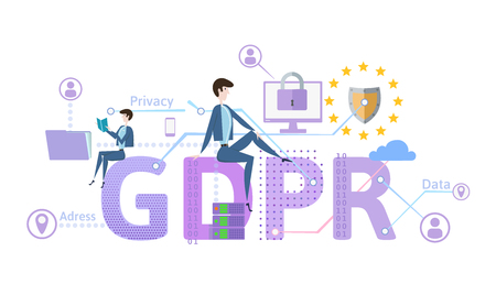 GDPR concept illustration. General Data Protection Regulation. The protection of personal data. Vector, isolated on white background. Çizim