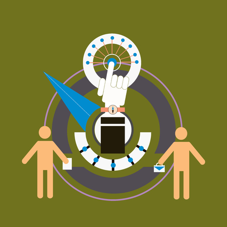 Business benchmarking concept, benchmark measure. Pictograms of men and scale the arrow. Vector business illustration. Illustration