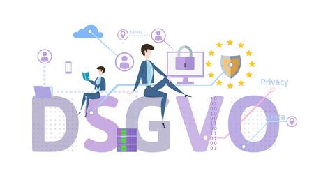 Reglamento general de protección de datos. GDPR, llamado DSGVO en alemán. Ilustración de vector de concepto. La protección de datos personales. Aislado en el fondo blanco
