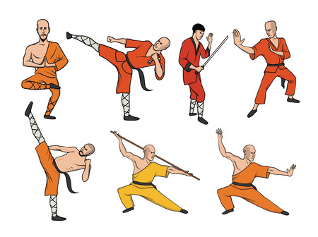 Shaolin monks practicing kung fu. Martial art. Vector illustration set, isolated on white background.