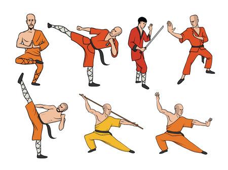 Shaolin monniken beoefenen kung fu. Krijgskunst. Vector illustratie set, geïsoleerd op een witte achtergrond.