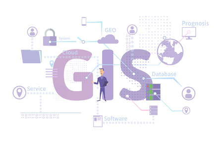 GIS Software Concept, Geographic Information System. Vector illustration on blue background. Foto de archivo
