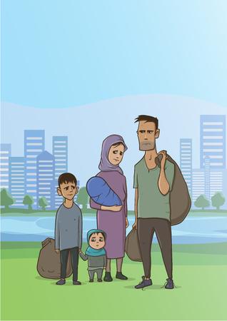 Rodzina bezdomna lub uchodźcy, mężczyzna i kobieta z dziećmi w dużym mieście. Ilustracja wektorowa z miejsca na kopię.