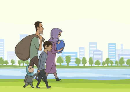 Family homeless or refugees, a man and a woman with children in the big city. Vector illustration with copy space.