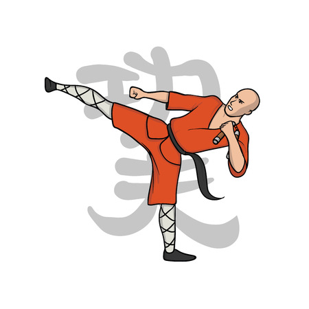 Shaolin monk practicing kung fu or wushu. Kung Fu hieroglyph. Martial art. Vector illustration, isolated on white background. Stock Vector - 94504293
