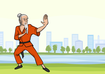Old man practicing kung fu or wushu in city park. The white-haired martial arts master with a beard. Vector illustration.
