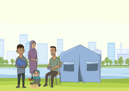 Family homeless or refugees, a man and a woman with children in the big city. Tent camp of refugees. Vector illustration with copy space.