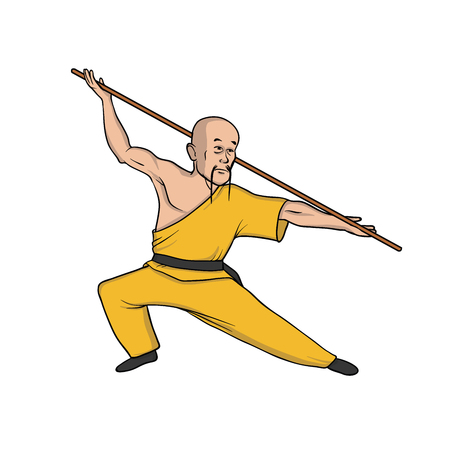 Shaolin monk practicing kung fu or wushu with pole. Martial art. Vector illustration, isolated on white background. Illustration