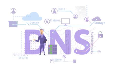 DNS の概念、ドメイン ネーム システム、コンピュータ、デバイス、サービス、またはその他のリソースの分散型命名システム。白い背景に分離されたフラットスタイルのベクトルイラストレーション。