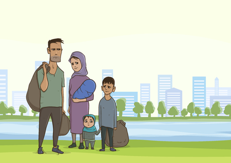 Family homeless or refugees, a man and a woman with children in the big city. Vector illustration with copy space. Stock Vector - 94916036