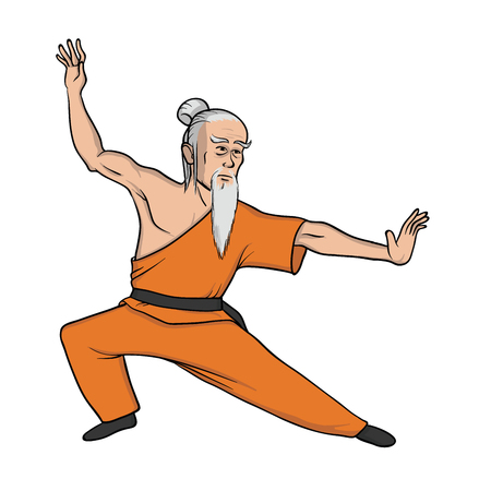 Shaolin monk practicing kung fu or wushu. Old master of martial art. Vector illustration, isolated on white background.