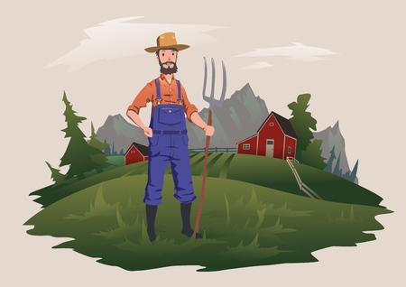Farmer standing with a pitchfork on the farm. Mountain rural landscape in the background. Illustration