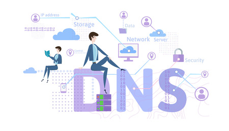 DNS concept, domain name system. Decentralized naming system for computers, devices, services, or other resources. Vector illustration in flat style, isolated on white background.