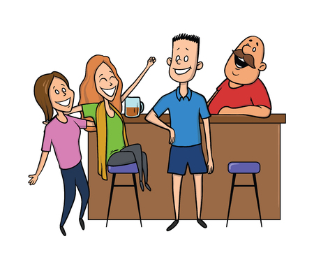 The young man talking to the girls at the bar. The bartender laughing. Vector illustration, isolated on white background.