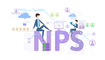NPS concept, vector illustration, isolated on white background. Net Promoter Score.